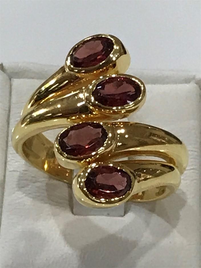 Stunning 2.28ct Garnet & 18K Gold Vermeil Size Q 1/2 (8.50)