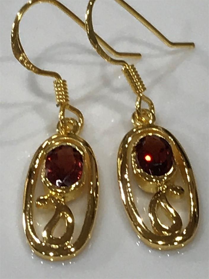 Magnificent Garnet 2.20ct & 18K Gold Vermeil Earrings