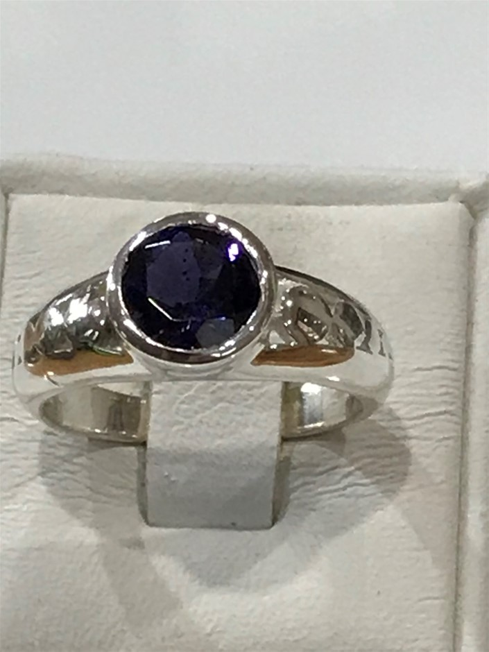 Truly Magnificent 1.25ct Iolite (Water Sapphire) Ring Size L 1/2 (6)