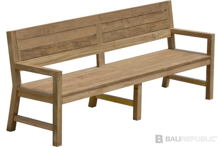 1 x TEMBOK Outdoor Bench Seat 300 with Dark Grey Cushion by Bali Republic