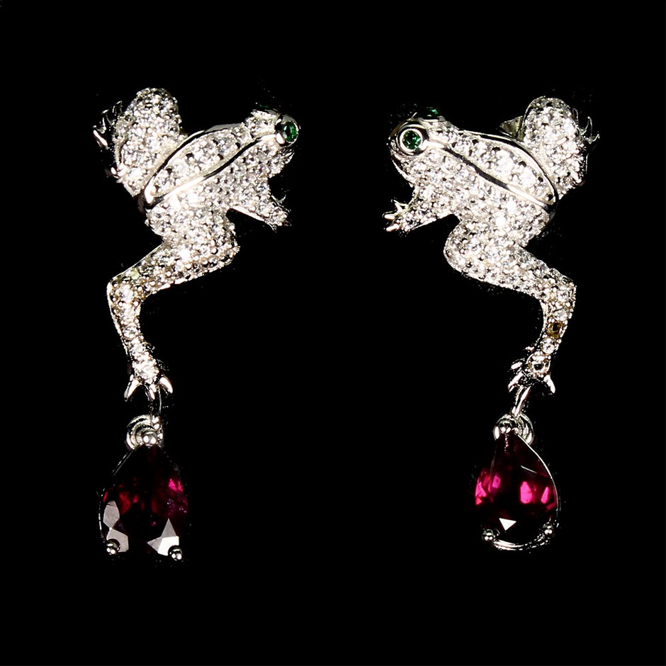 Unique Genuine Rhodolite Garnet Froggy Earrings.