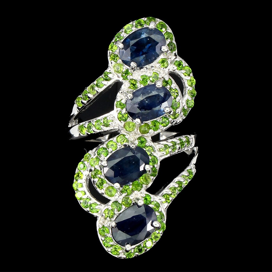 Striking Genuine Sapphire & Chrome Diopside Ring
