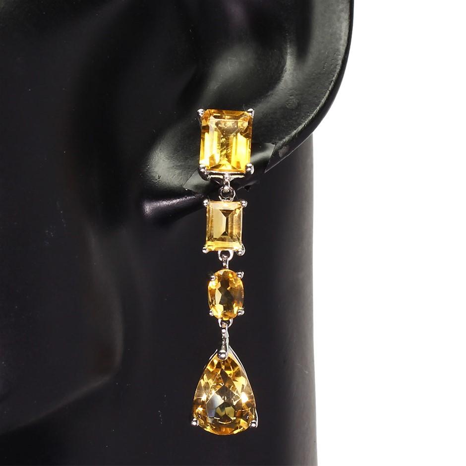 Beautiful Genuine Sunny Citrine Drop Earrings