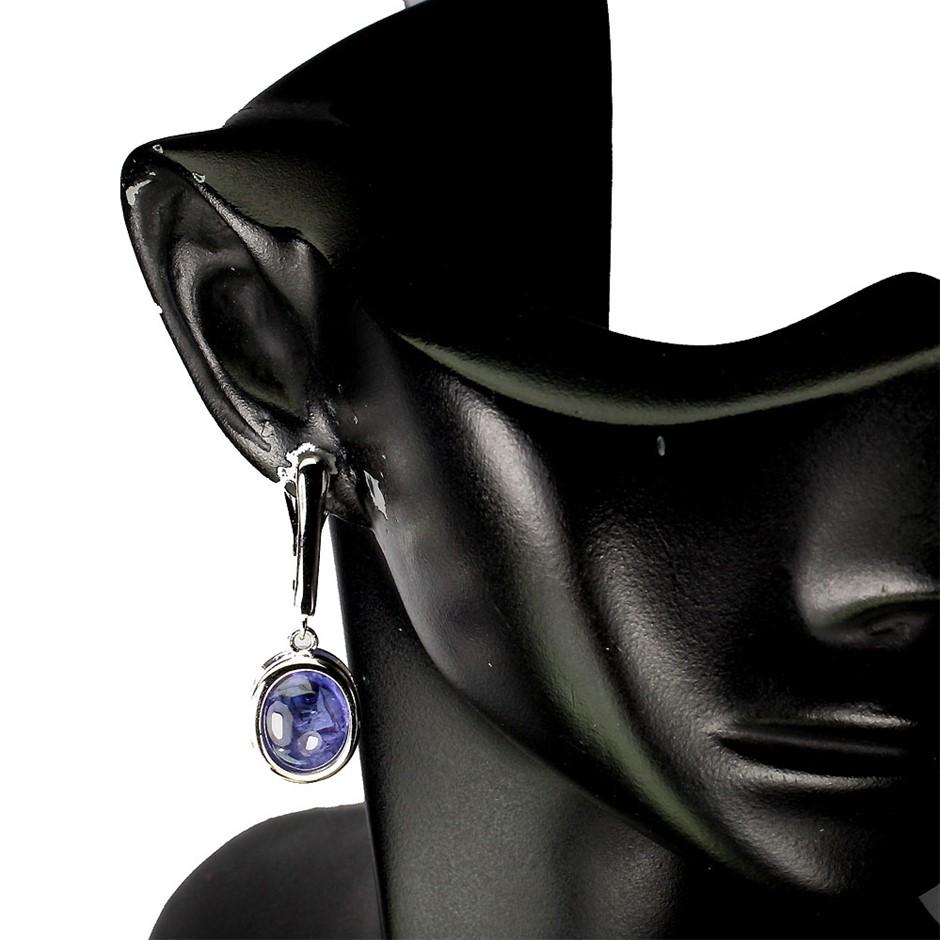 Striking Genuine Tanzanite Drop Earrings.