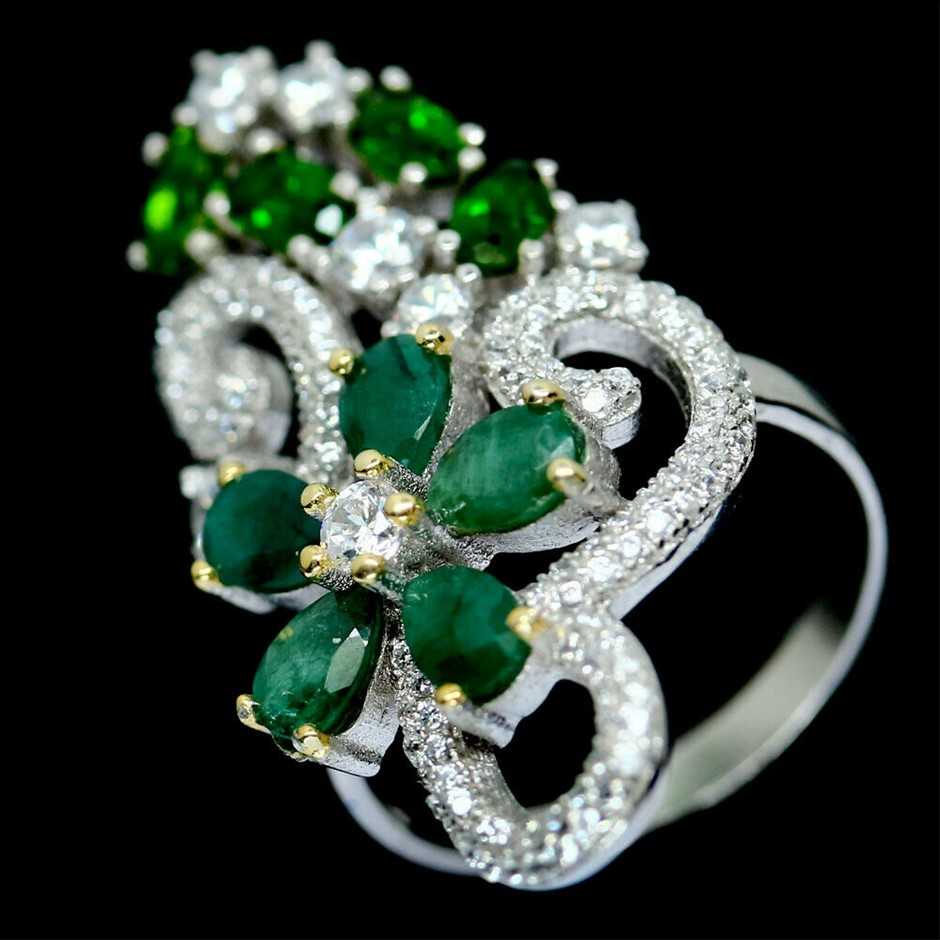 Delightful Genuine Emerald Cocktail Ring.
