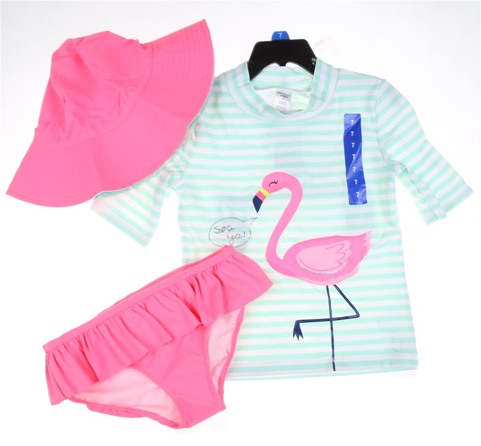 CARTER`S Girl`s 3pc Swim Set, Size 7, UPF50+ Sun Protection, White/Pink/Gre