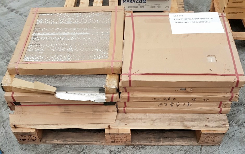 Pallet of Various Boxes of Porcelain Tiles, 60x60cm