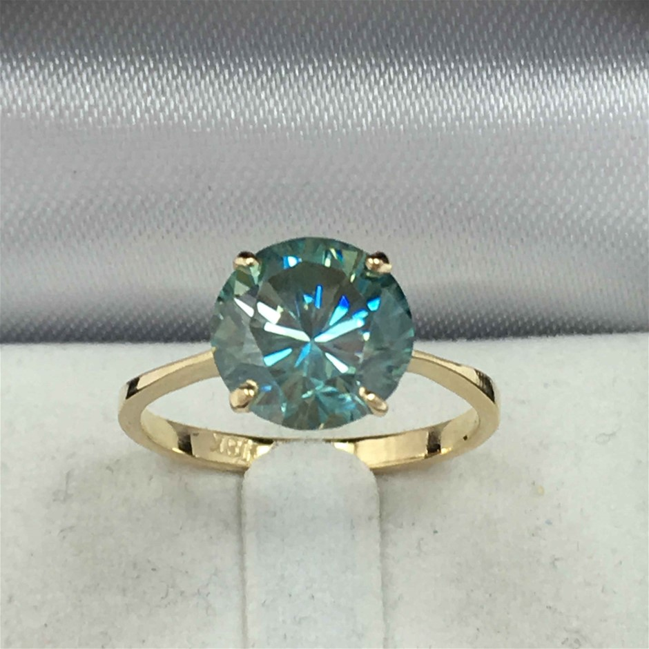 18ct Yellow Gold, 2.53ct Moissanite Ring
