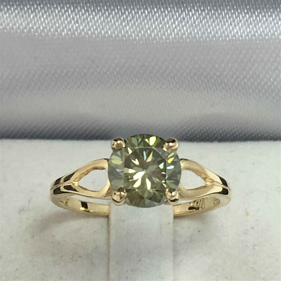 18ct Yellow Gold, 1.36ct Moissanite Ring