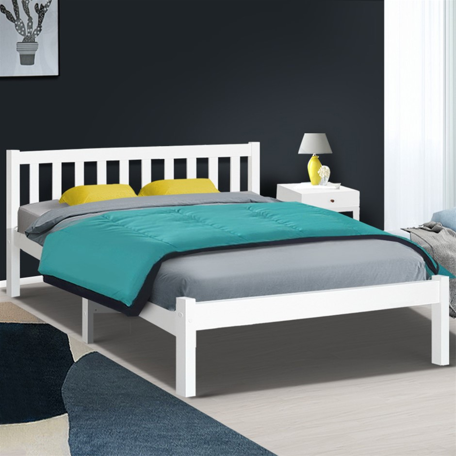 Artiss Wooden Bed Frame Queen Size White Wooden Pine Timber Mattress Base