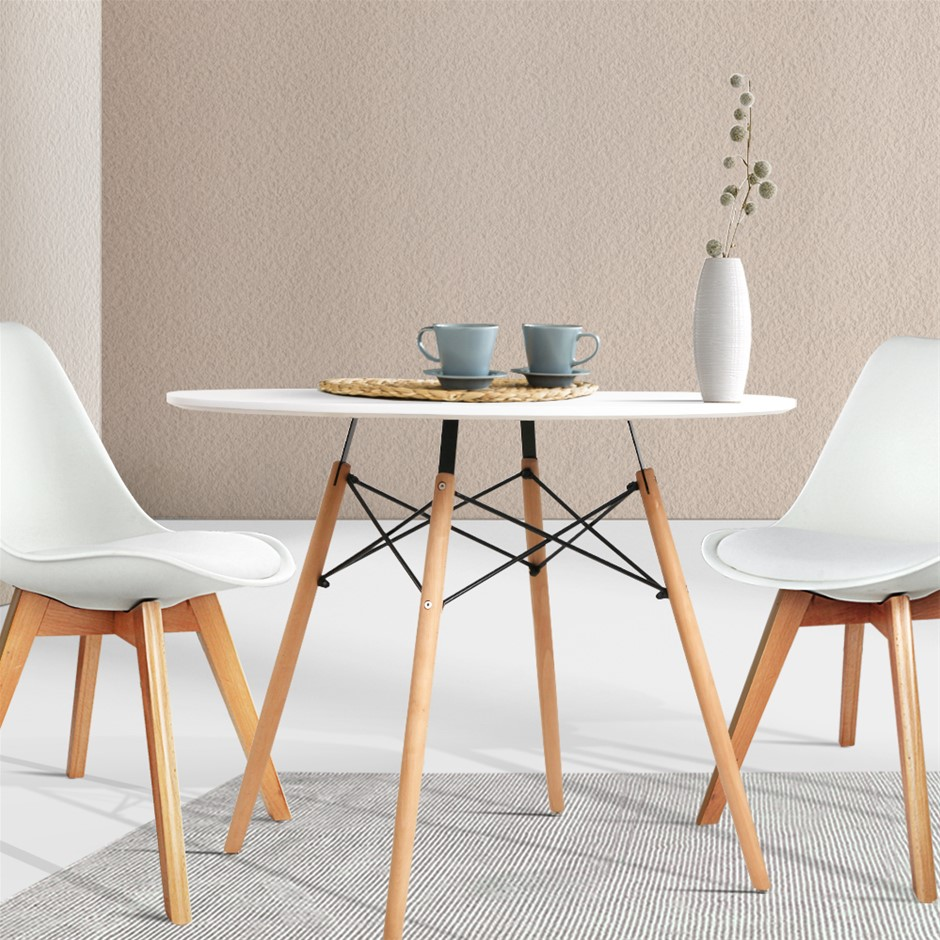 Artiss 4-Seater Round Replica Eames DSW Dining Table Timber White 90cm