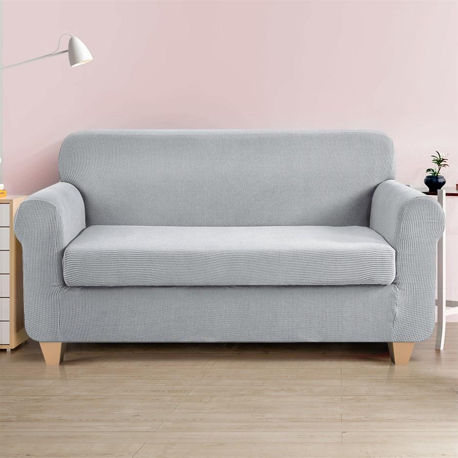 Artiss 2-piece Sofa Cover Elastic Stretch Protector 3 Seater Grey