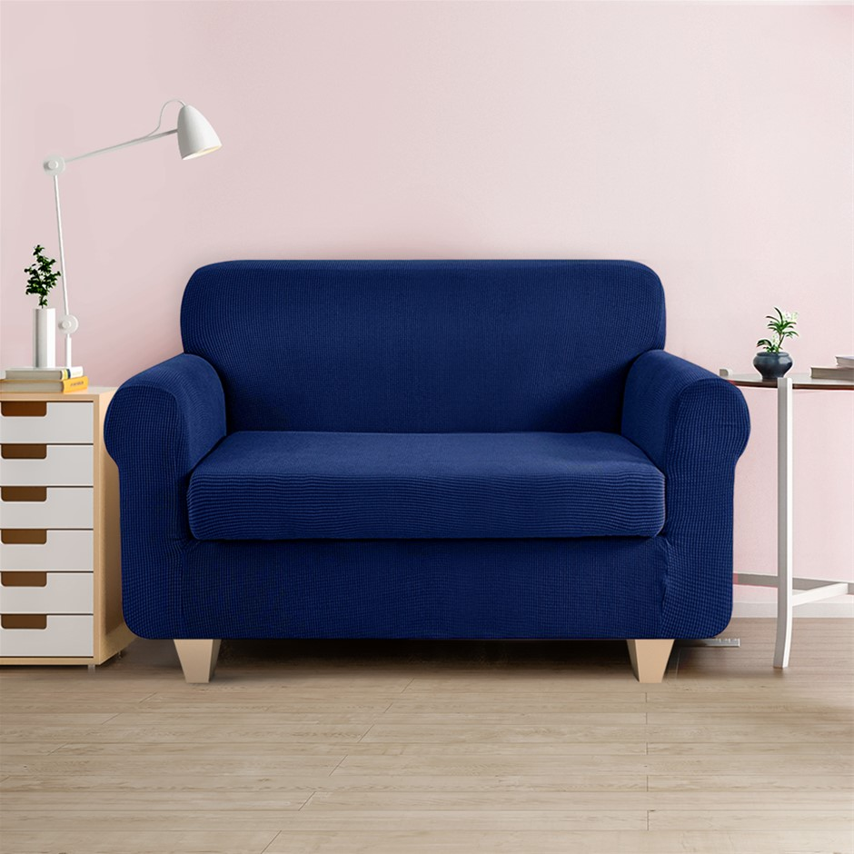 Artiss 2-piece Sofa Cover Elastic Stretch Protector 2 Seater Navy
