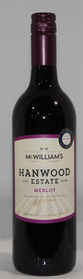 McWilliams Hanwood Estate Merlot 2018 (6 x 750mL) SEA.