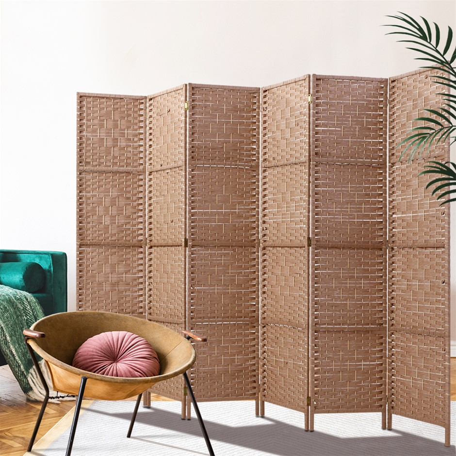 Artiss 6 Panel Room Divider Screen Rattan Timber Foldable Hand Woven