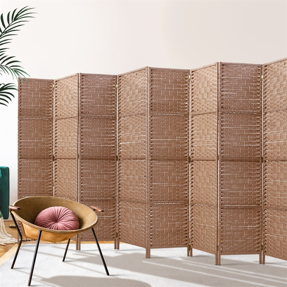Artiss 8 Panel Room Divider Screen Rattan Timber Foldable Hand Woven