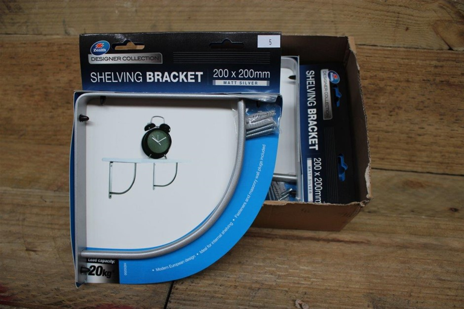 Zenith Shelfing Bracket 200 x 200mm Matt Silver 20Kg Designer Collection