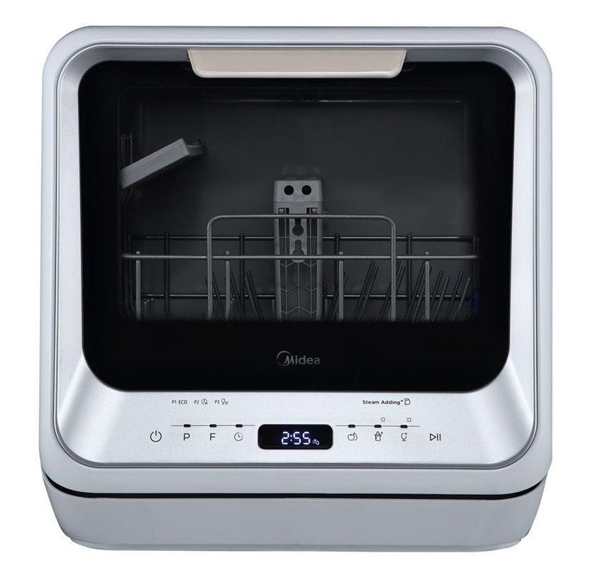 Midea 3 Place Setting & 99.9% Sterilization Rate Mini Dishwasher, Silver