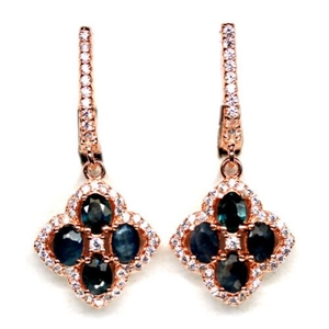 Exquisite Rose Gold Blue Sapphire Earrin