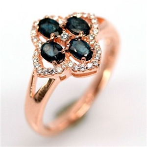 Rose Gold Blue Sapphire Ring. Size 'Q'
