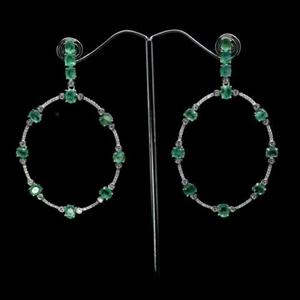 Gorgeous Green Emerald Dangle Hoop Earri
