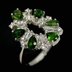 Gorgeous Chrome Green Diopside Ring. Siz