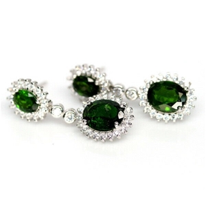 Gorgeous Green Chrome Diopside Drop Earr