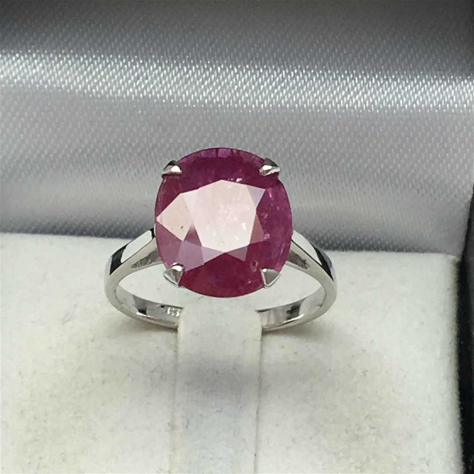 18ct White Gold, 5.86ct Ruby and Diamond Ring