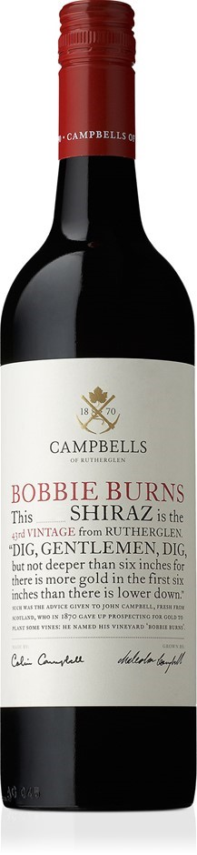 Campbells `Bobbie Burns` Shiraz 2017 (6 x 750mL), Ruthereglen, VIC.