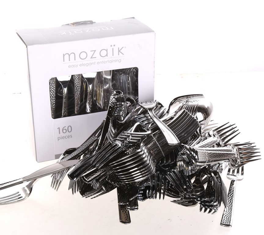 2 x MOZAIK 120pc Premium Plastic Hammered Stainless Steel Coated Assorted