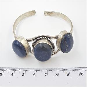 Sterling Silver & Blue Gemstone Cuff.