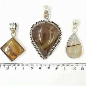 Sterling Silver & Gemstone Pendants x 3.