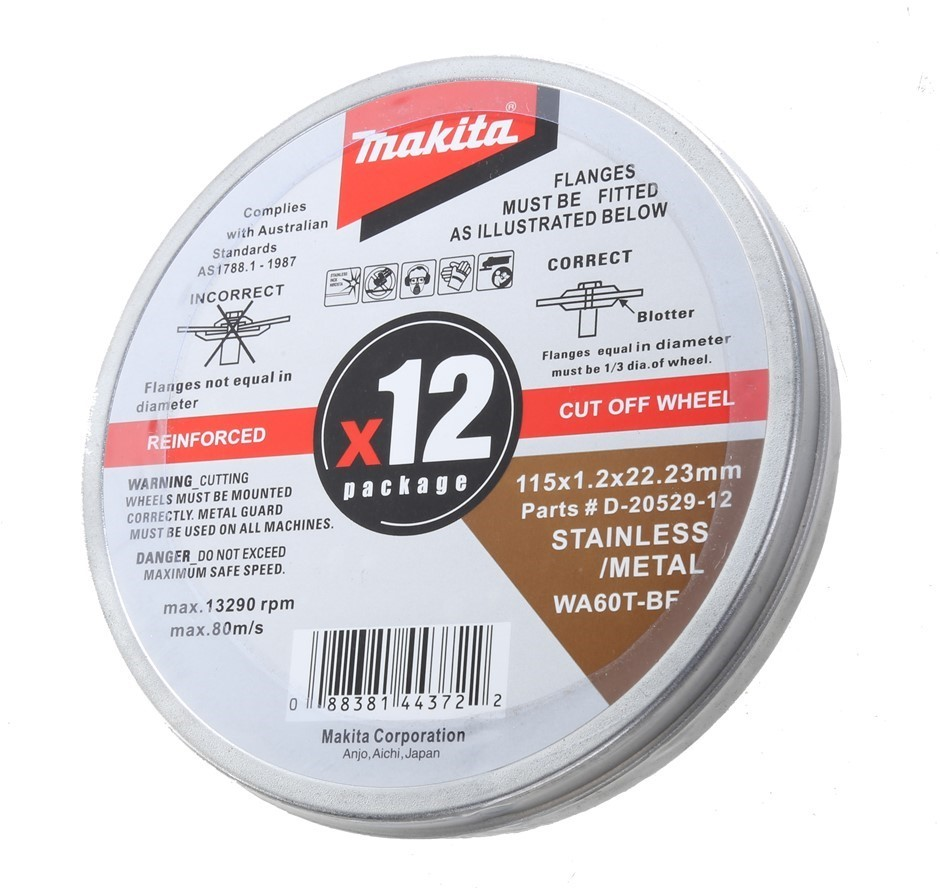 12 x MAKITA Cutting Discs, 115 x 1.2 x 22mm in Storage Tin. Buyers Note - D