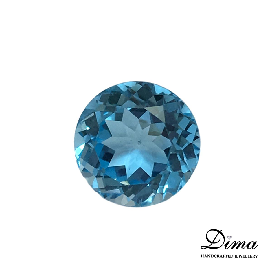One Stone Blue Topaz Round 5.42ct in Total