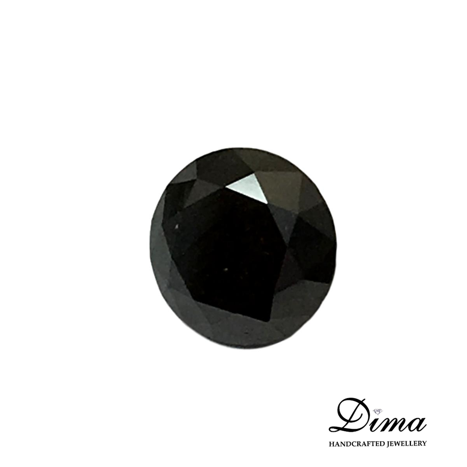 One Stone Black Diamond Round 0.53ct in Total