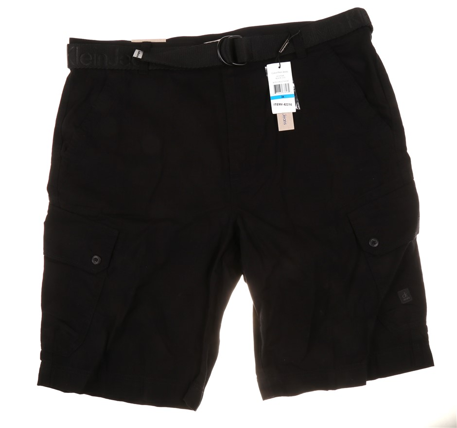 CALVIN KLEIN Men`s Cargo Shorts with Belt, Size 30, 100% Polyester, Black.