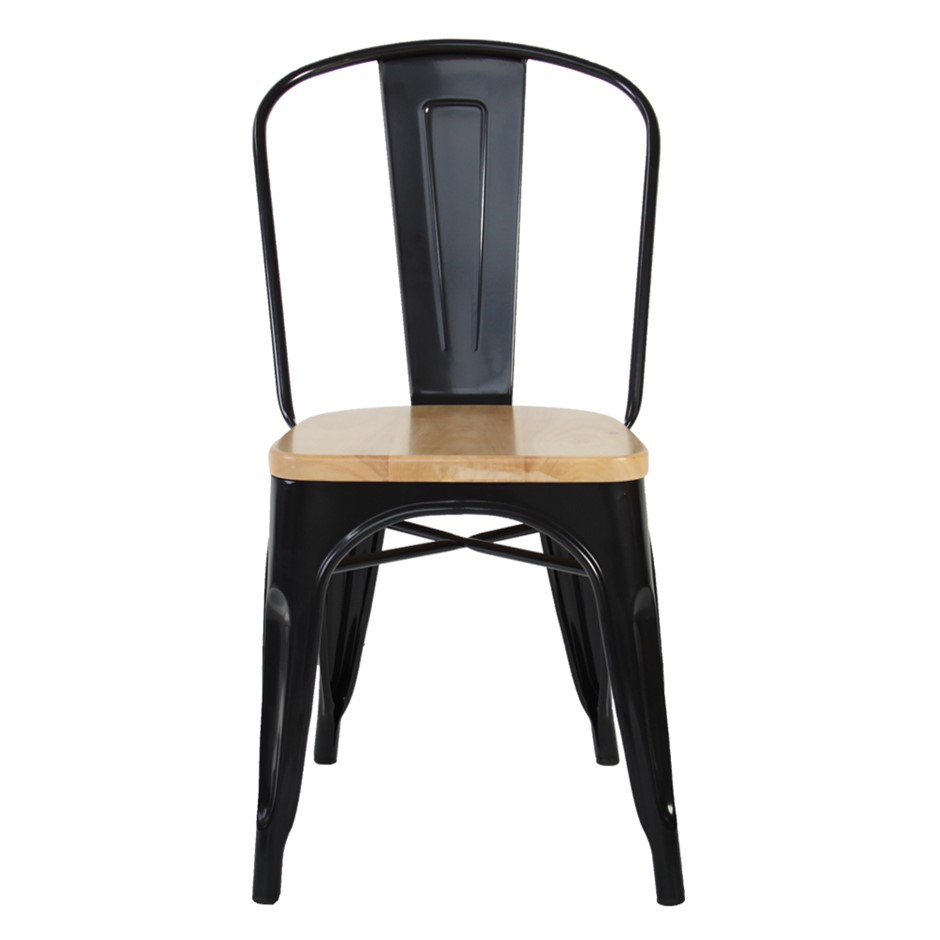 Replica Tolix Chair Black With Wooden Seat