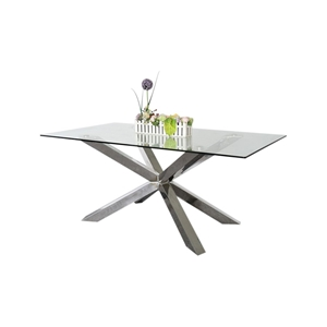 Dining Table in Crisscross Glossy Stainl