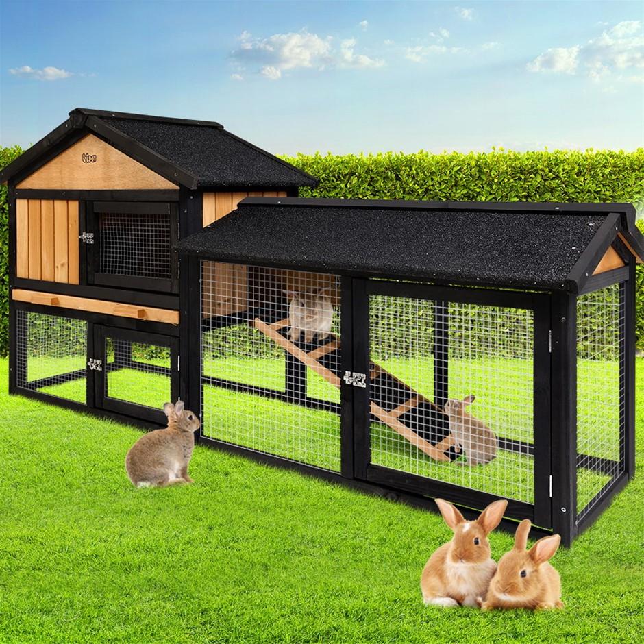 i.Pet Rabbit Hutch Hutches Large Metal Run Wooden Cage