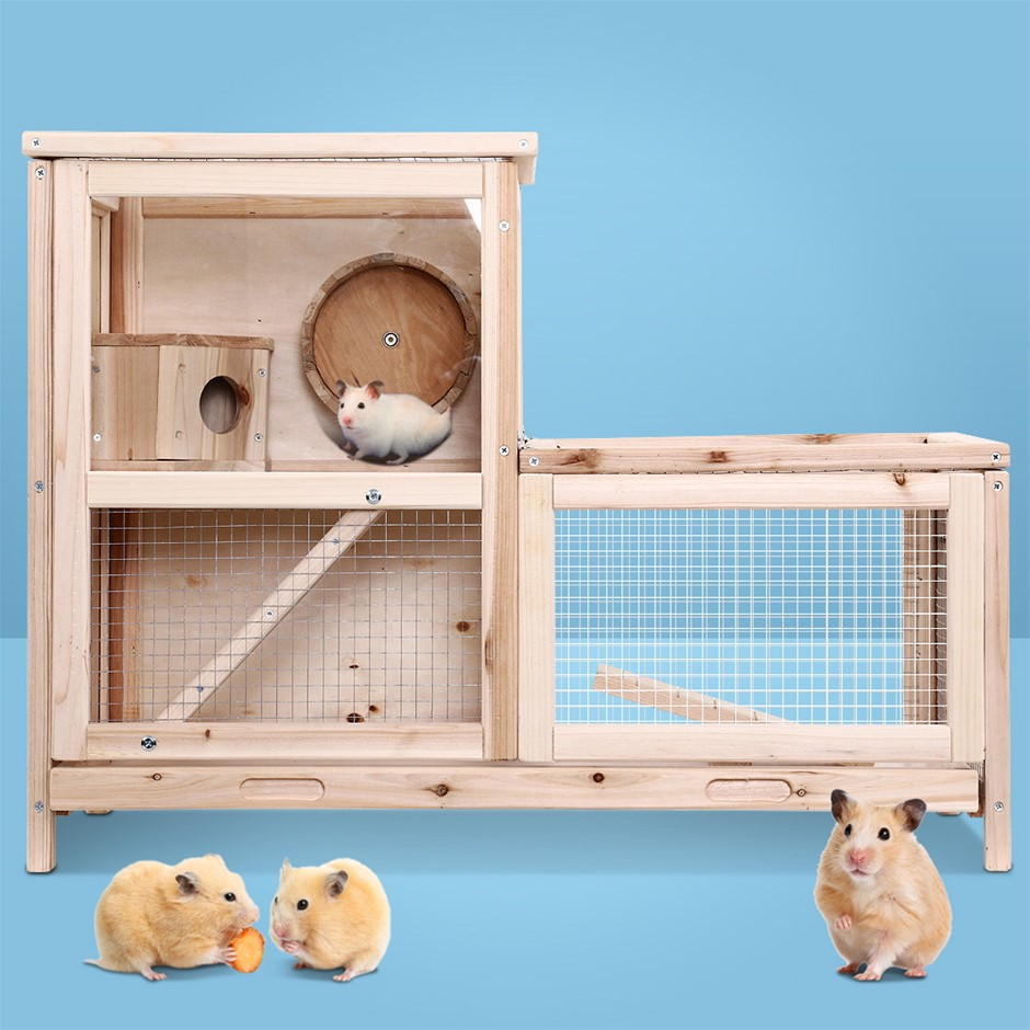 i.Pet Hamster Guinea Pig Ferrets Rodents Hutches Large Wooden Cage Running