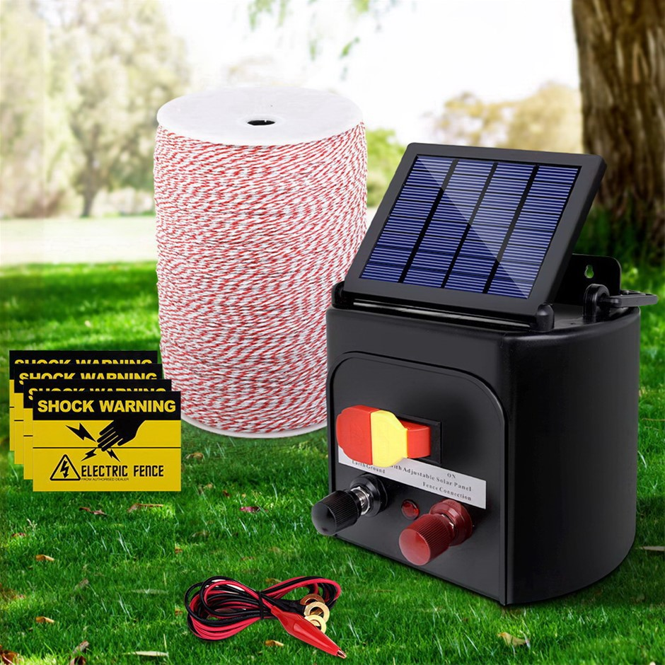 Giantz 5KM Solar Electric Fence Energiser + Fencing Wire Tape