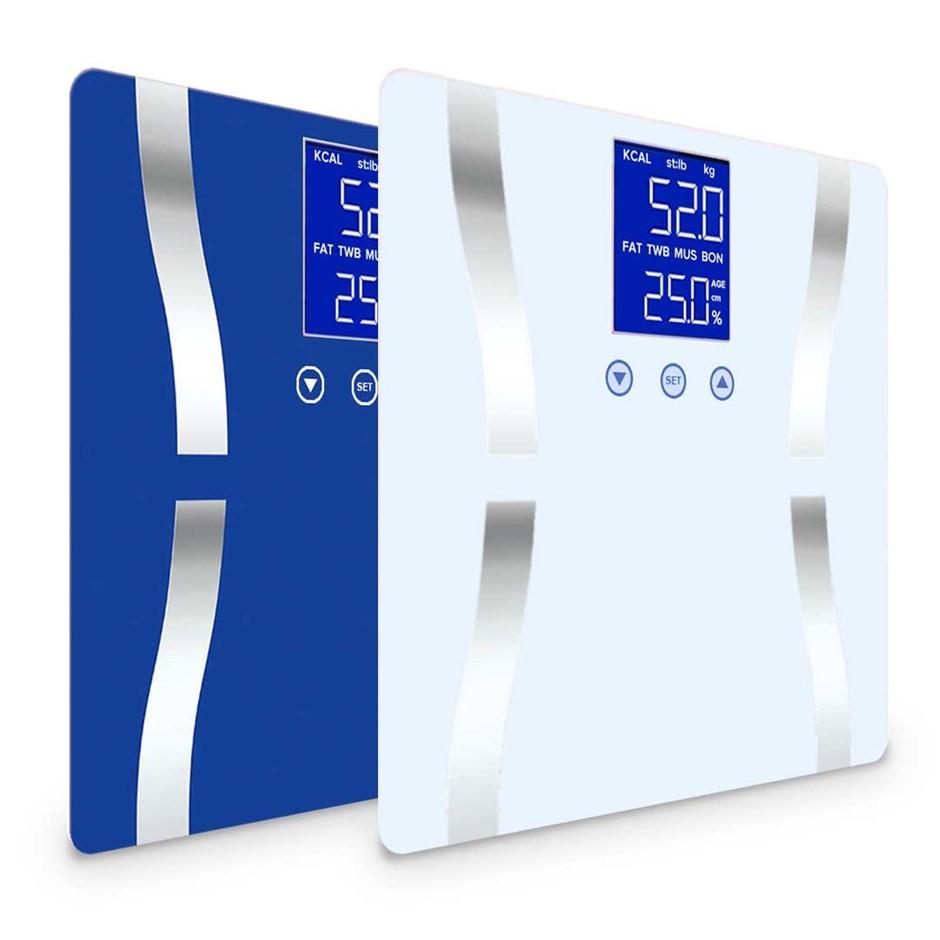 SOGA 2 x Digital Body Fat Bathroom Scales Weight Gym LCD Blue/White