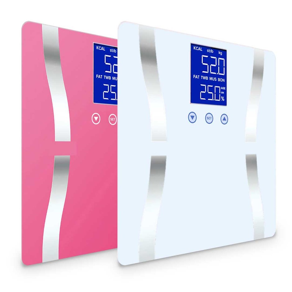 SOGA 2 x Digital Body Fat Bathroom Scales Weight Gym LCD Pink/White