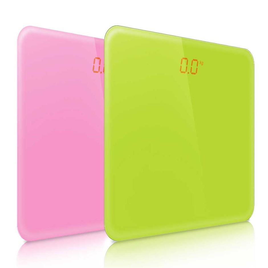 SOGA 2 x 180kg Digital Fitness Bathroom Gym Body Glass LCD Pink/Green