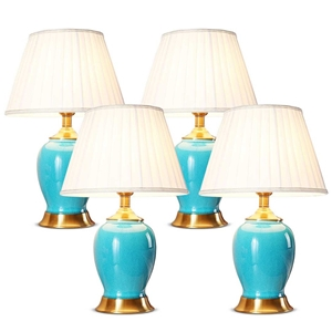 SOGA 4X Ceramic Oval Table Lamp with Gol