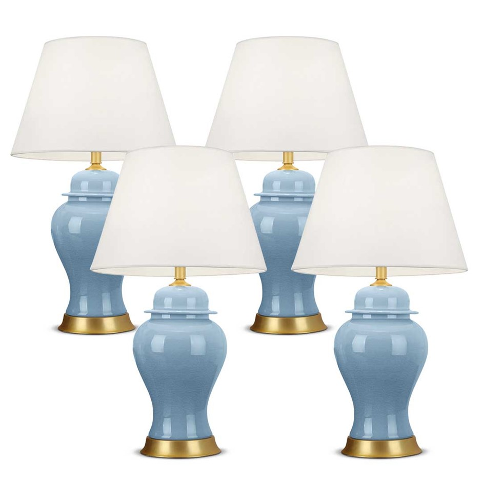 SOGA 4x Oval Ceramic Table Lamp with Gold Metal Base Desk Lamp Blue