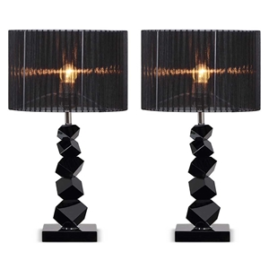 SOGA 2X 55cm Black Table Lamp with Dark