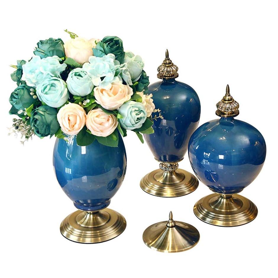 SOGA 3x Ceramic Oval Flower Vase with Blue Flower Set Dark Blue