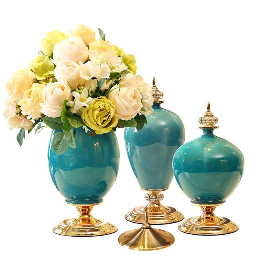 SOGA 3x Ceramic Oval Flower Vase with White Flower Set Green