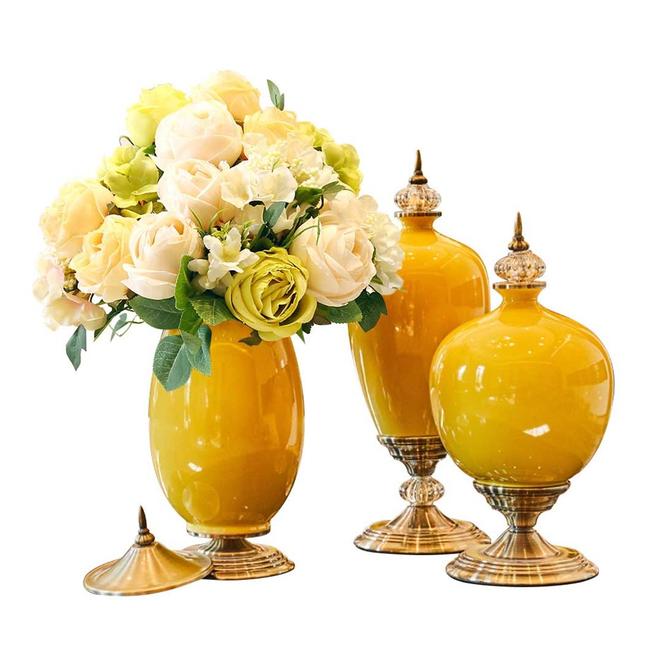 SOGA 3x Ceramic Oval Flower Vase with White Flower Set Yellow